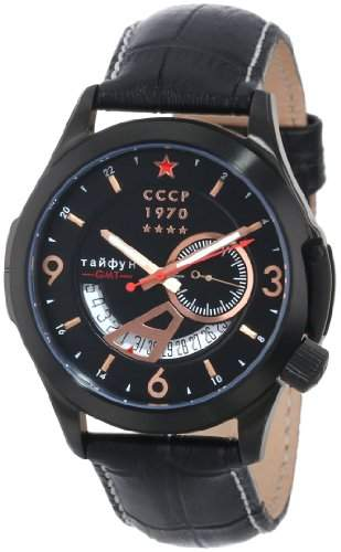 CCCP Herren CP-7011-03 Shchuka Analog Display Swiss Quartz Black Armbanduhr