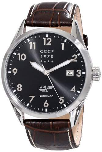 CCCP Herren CP-7015-04 Golden Soviet Submarine Analog Display Automatic Self Wind Brown Armbanduhr