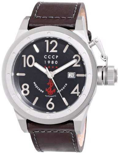 CCCP Herren CP-7017-01 Delta Analog Display Japanese Quartz Black Armbanduhr