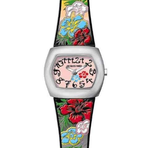 JACQUES FAREL CKD5558 Young Fashion Flowers - Blumen Uhr Maedchen Kinderuhr Kunststoff Edelstahl 30m Analog mehrfarbig bunt