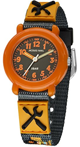 Jacques Farel Baustelle Kinderuhr grau orange schwarz KPA8003