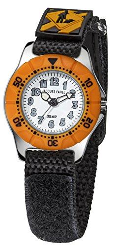Jacques Farel Baustelle Kinderuhr schwarz orange silber KWD6991