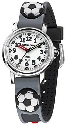 Jacques Farel Fussball Kinderuhr grau schwarz weiss silber KST0353
