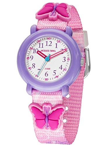 Jacques Farel Kinderuhr Maedchen Schmetterling rosa pink KPA 9002