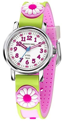 Jacques Farel Blume Kinderuhr pink gruen silber weiss KST0575
