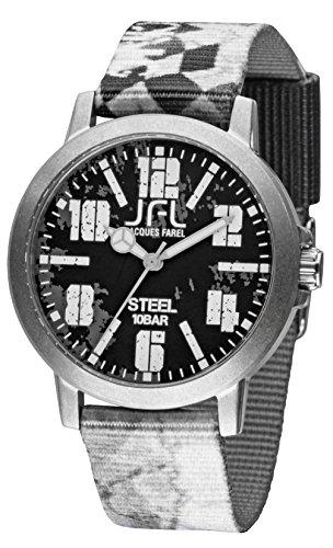 Jacques Farel Racing Jugenduhr weiss grau schwarz CRS006