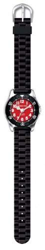 JACQUES FAREL KWD0203 Uhr Kinderuhr Kautschuk schwarz Edelstahl 30m Analog Ziffernblatt schwarz - rot sportlich