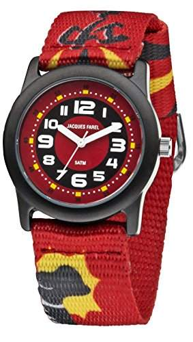 JACQUES FAREL STB5555 Uhr Junge Kinderuhr Stoffband Metall 50m Analog rot