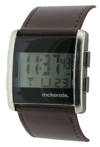 Mckenzie Mens Digital Armbanduhr Brown PU Strap MCK12A