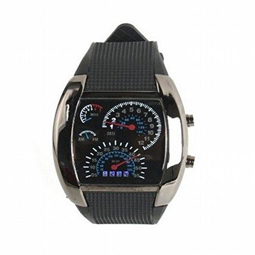 Tomorrowtop Cool Auto Meter Zifferblatt geschlechtsneutral Blau Blitz Punkt Matrix LED Lauffuhr Armbanduhr
