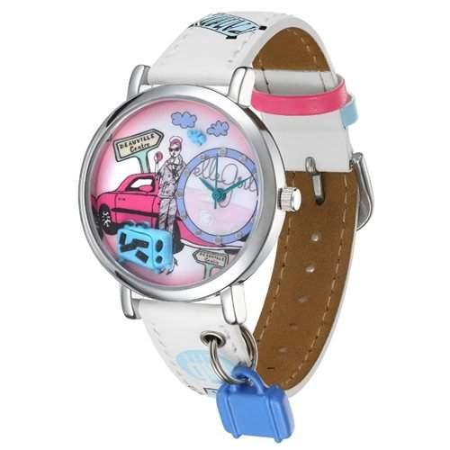 ELLE Analoge Maedchen Armbanduhr mit rosafarbenem, bebildertem Ziffernblatt GW40056S01X