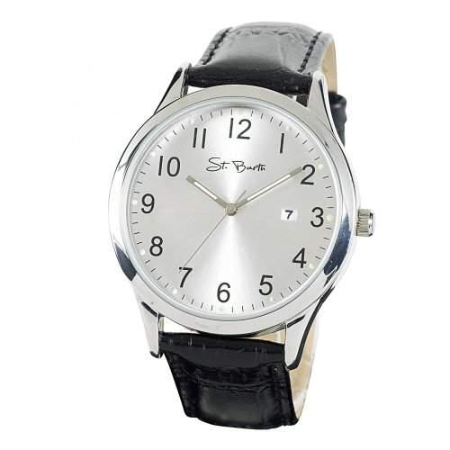 St Barth Herren-Armbanduhr Classic Trendy Analog Quarz LederbandPU SchwarzSilber SGA-32305-42L