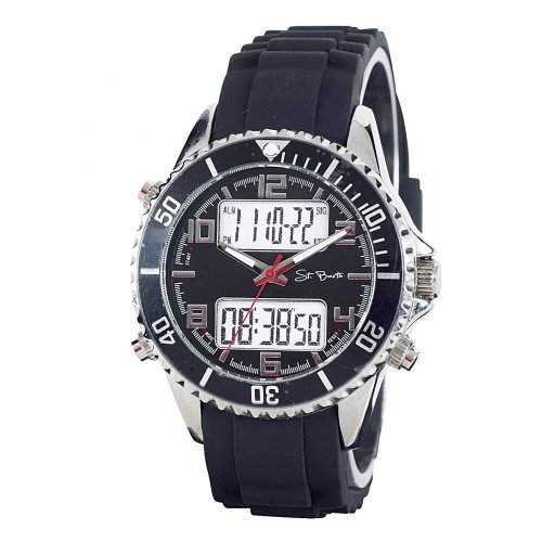 St Barth Herren-Armbanduhr Classic Trendy AnalogDigital Quarz Silikonband Schwarz SGA-90609-22L