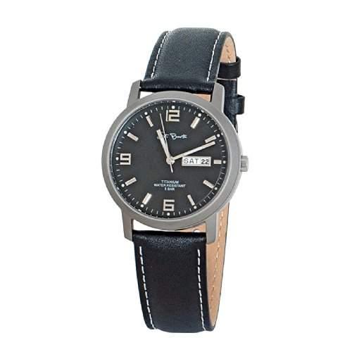 St Barth Herren-Armbanduhr Titanium Analog Quarz Lederband SchwarzBlau SGT-50183-31L