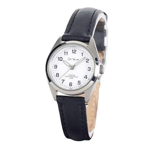 St Barth Damen-Armbanduhr Titanium Analog Quarz Lederband SchwarzWeiss SLT-50189-12L