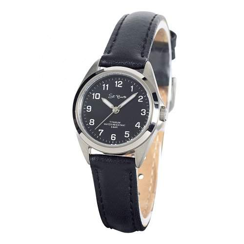 St Barth Damen-Armbanduhr Titanium Analog Quarz Lederband Schwarz SLT-50190-22L