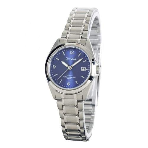 St Barth Damen-Armbanduhr Titanium Analog Quarz Titanband SilberBlau SLT-50193-32M