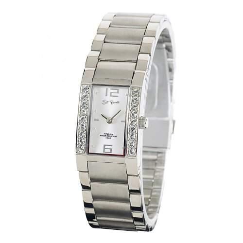 St Barth Damen-Armbanduhr Titanium Analog Quarz Titanband Silber mit Strass SLT-50198-42M
