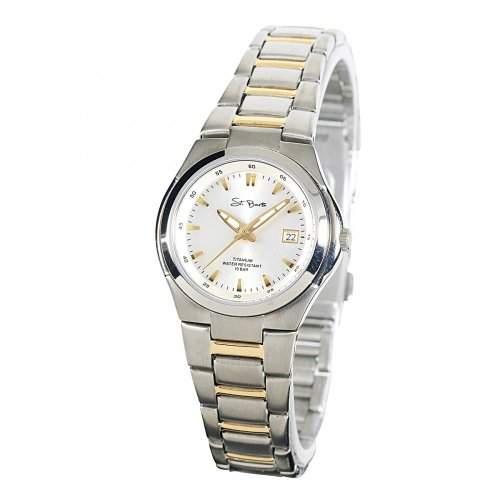 St Barth Damen-Armbanduhr Titanium Analog Quarz Titanband SilberGold SLT-50199-41M
