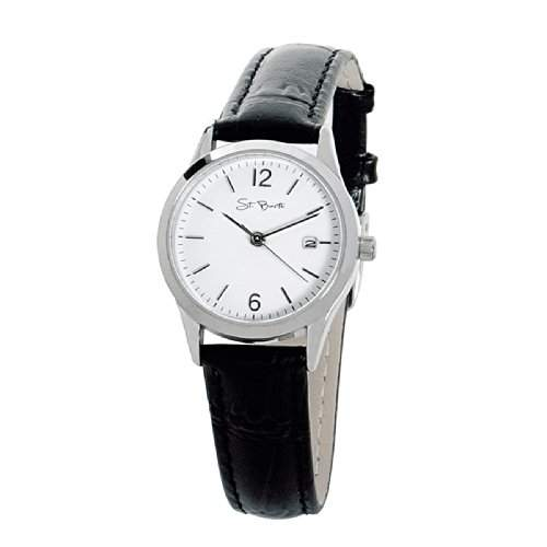St Barth Damen-Armbanduhr Sport Basic Analog Quarz LederbandPU SchwarzWeiss SLA-32315-11L