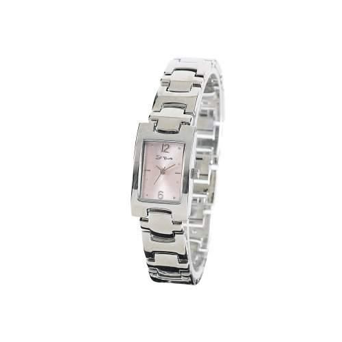 St Barth Damen-Armbanduhr Elegance Analog Quarz Metallband SilberRosa SLA-60384-82M