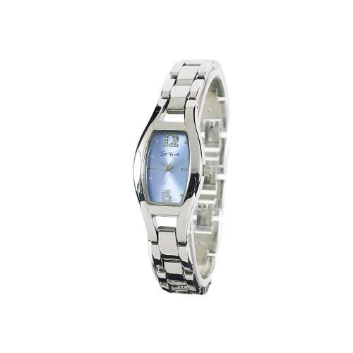St Barth Damen-Armbanduhr Elegance Analog Quarz Metallband SilberBlau SLA-60386-32M