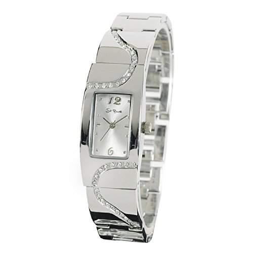 St Barth Damen-Armbanduhr Elegance Analog Quarz Metallband Silber mit Strass SLA-60393-42M