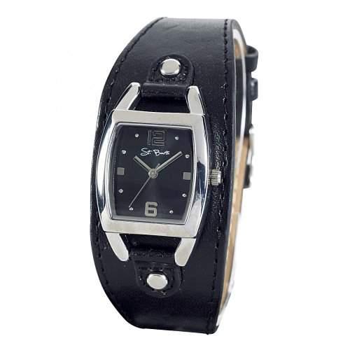 St Barth Damen-Armbanduhr Trendy Analog Quarz Kunststoffband SchwarzSilber SLA-90582-22L