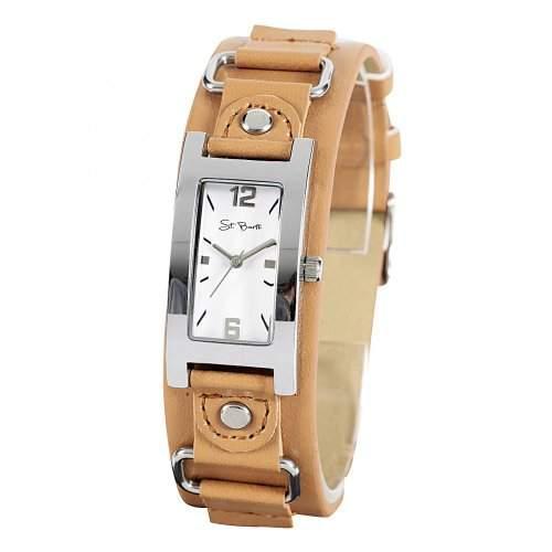 St Barth Damen-Armbanduhr Trendy Analog Quarz Kunststoffband BraunWeiss SLA-90586-12L