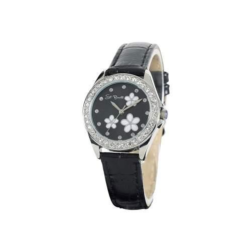 St Barth Damen-Armbanduhr Trendy Analog Quarz Kunststoffband SchwarzSilber mit Strass SLA-90593-23L