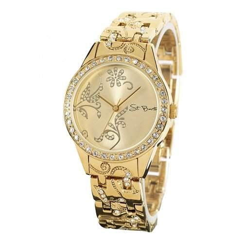 St Barth Damen-Armbanduhr Trendy Analog Quarz Metallband Gold mit Strass SLA-90600-65M