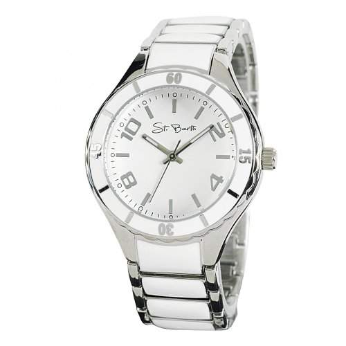 St Barth Damen-Armbanduhr Trendy Analog Quarz Metallband SilberWeiss SLA-90601-12M