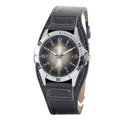 St Barth Herren-Armbanduhr Classic Trendy Analog Quarz Kunststoffband SGA-90605-22L, schwarzbraunsilber 1 Stueck