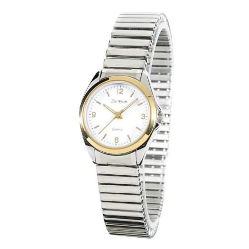 St Barth Damen-Armbanduhr Sport Basic Analog Quarz Edelstahlzugband SilberGold SLA-31056-12M
