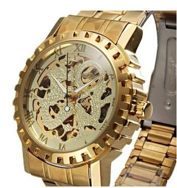 Goldenen Hohl Steel BusinessHerren Automatik Skeleton mechanische Armbanduhr