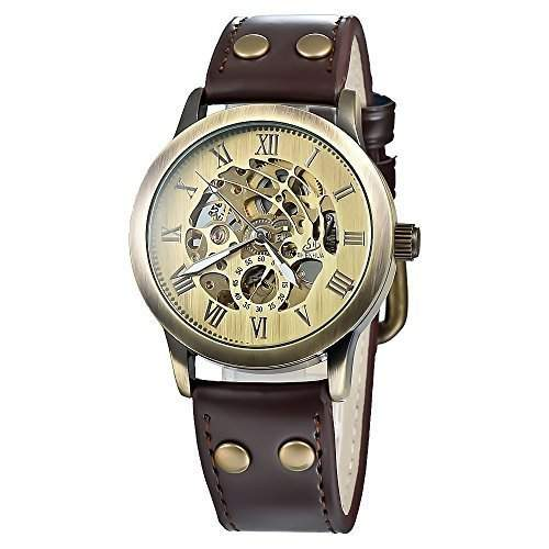 Goldene Transparent Skeleton schwarzes ledernes mechanische Uhr fuer Mann-Frauen