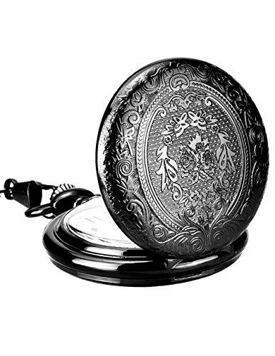 Mudder schwarze altmodische Quarzuhr Taschenuhr Ketten Uhr mit Halsketten aus Edelstahl