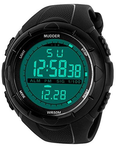 Mudder Herren Militaerische Digitale Outdoor Sportuhr mit Digitale Elektronische LED Bildschirm Wasserdicht Schwarz