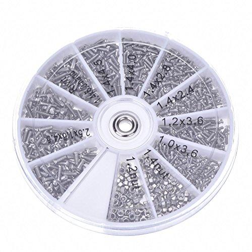 Mudder 1000 Stueck Schrauben Muttern Sortiment Reparatur Werkzeugset fuer Brillen Handy Uhren Brille
