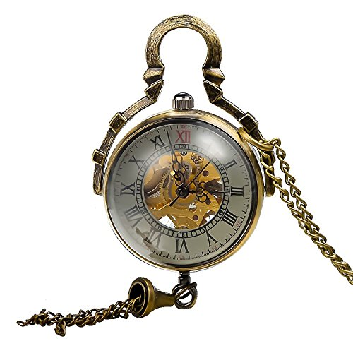 Mudder Steampunk Glas Ball transparent Skelett Mechanische Taschenuhr Kette