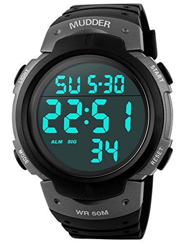 Mudder 5ATM wasserdichte digitale Armbanduhr Sportuhr militaerisch und mehrfunktional Titanium