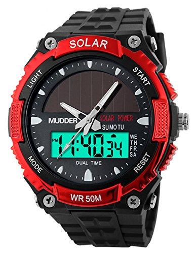 Mudder wasserdichte und militaerische Outdoor LCD Armbanduhr Sportuhr fuer Maenner von 50M Sonnenenergie Rot