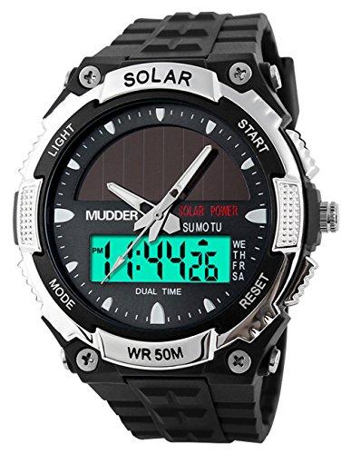 Mudder wasserdichte und militaerische Outdoor LCD Armbanduhr Sportuhr fuer Maenner von 50M Sonnenenergie Silber