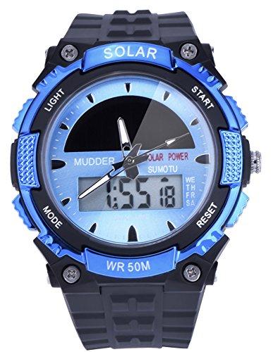 Mudder wasserdichte und militaerische Outdoor LCD Armbanduhr Sportuhr fuer Maenner von 50M Sonnenenergie Blau