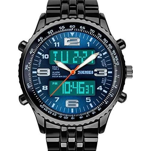 Voll Edelstahl Dualzeit Hellen Quarz Sport Watch Wasserdicht Blau