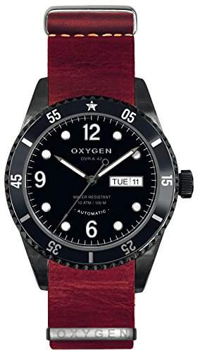 Oxygen Moon 42 schwarz Herren Automatik Uhr mit schwarzem Zifferblatt Analog-Anzeige und Lederband EX-A-BLA - 42-NL-RE