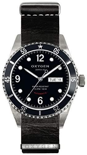 Oxygen Moon 42 Herren Automatik Uhr mit schwarzem Zifferblatt Analog-Anzeige und schwarzem Lederarmband EX-A-MOO - 42-NL-BL