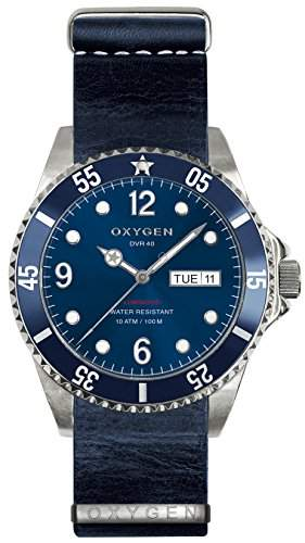 OXYGEN-EX-D-ATL - 40-NL-NA-Armbanduhr Quarz analog Leder Blau