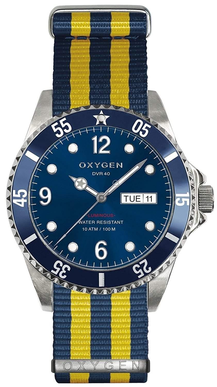 Oxygen Atlantic 40 Herren Quarzuhr mit blauem Zifferblatt Analog Nylon-Gurt-D-ATL-EX NN-NAYE - 40