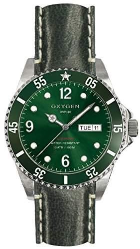 Oxygen Campo 40 Herren Armbanduhr Analog Kunststoff gruen Lederband EX-D-CAM - 40 CL-GN